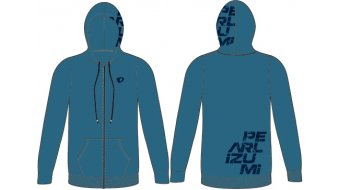 Pearl Izumi Zip Up temps libre Hoodie long hommes taille distressed logo navy
