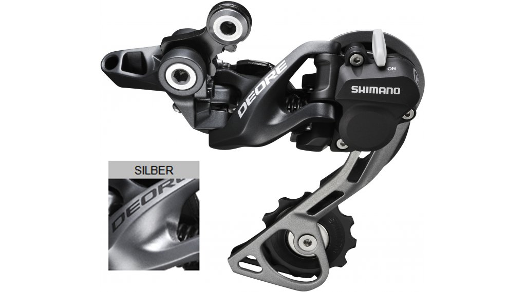 Shimano Deore RD-M615 GS Shadow Plus rear derailleur silver Top- normal short cage (Direct-Mount compatible )