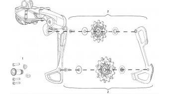 SRAM GX Eagle 1x12 резервна част вътре/от вътре/вътрешен/а/о/иkäfig и Превкл./водещи ролки