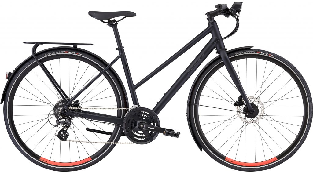 "Specialized Sirrus EQ Step-Through Black Top Ltd 28"" Fitnessbike fiets dames maat L satin cast black/rocket red model 2020"