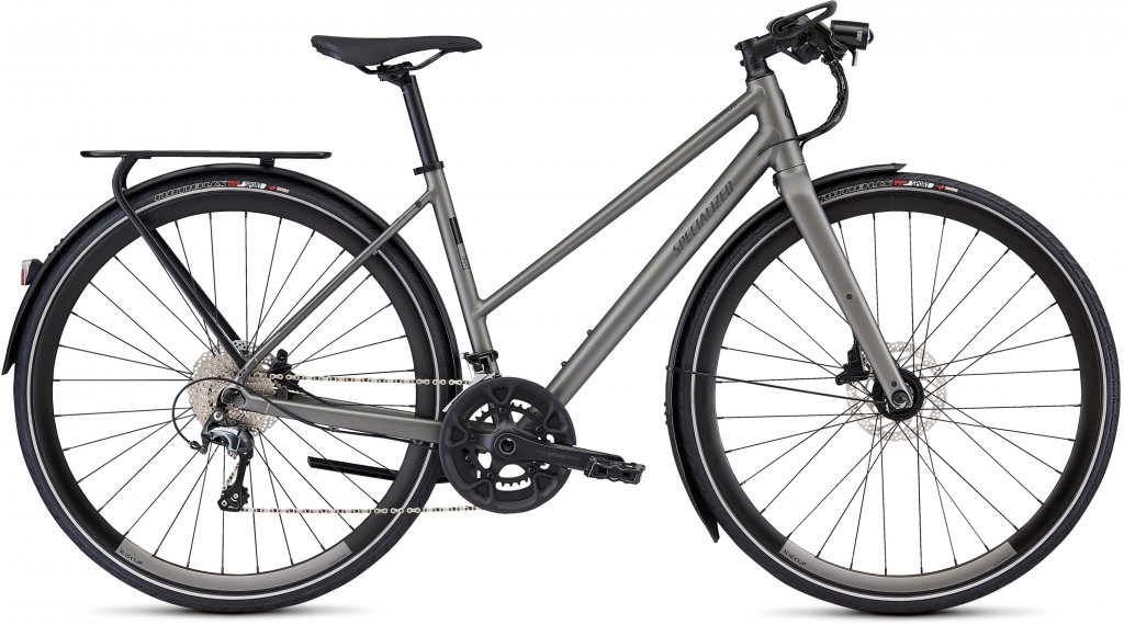 "Specialized Sirrus Elite EQ Step-Through Black Top Ltd 28"" Fitnessbike Komplettrad Damen Gr. S satin sterling grey/black Mod. 2020"