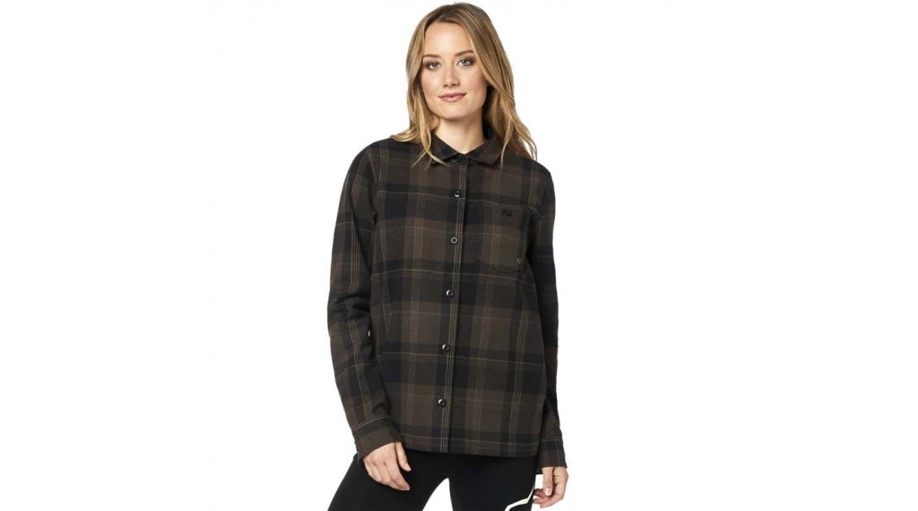 Fox Burnout langarm Flannelhemd Damen Gr. S olive green - Sample