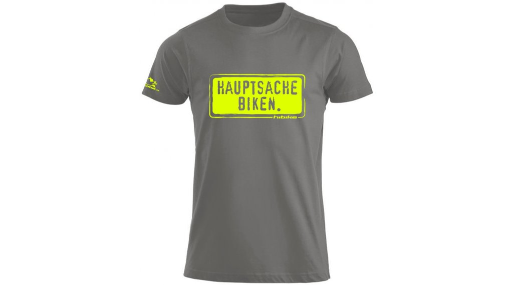 "HIBIKE ""Hauptsache Biken."" T-Shirt kurzarm Herren-T-Shirt Gr. S grau/neon"