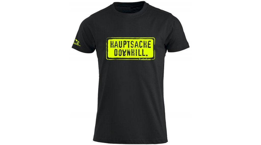 HIBIKE Hauptsache Downhill. T-Shirt kurzarm Herren-T-Shirt Gr. M schwarz/neon
