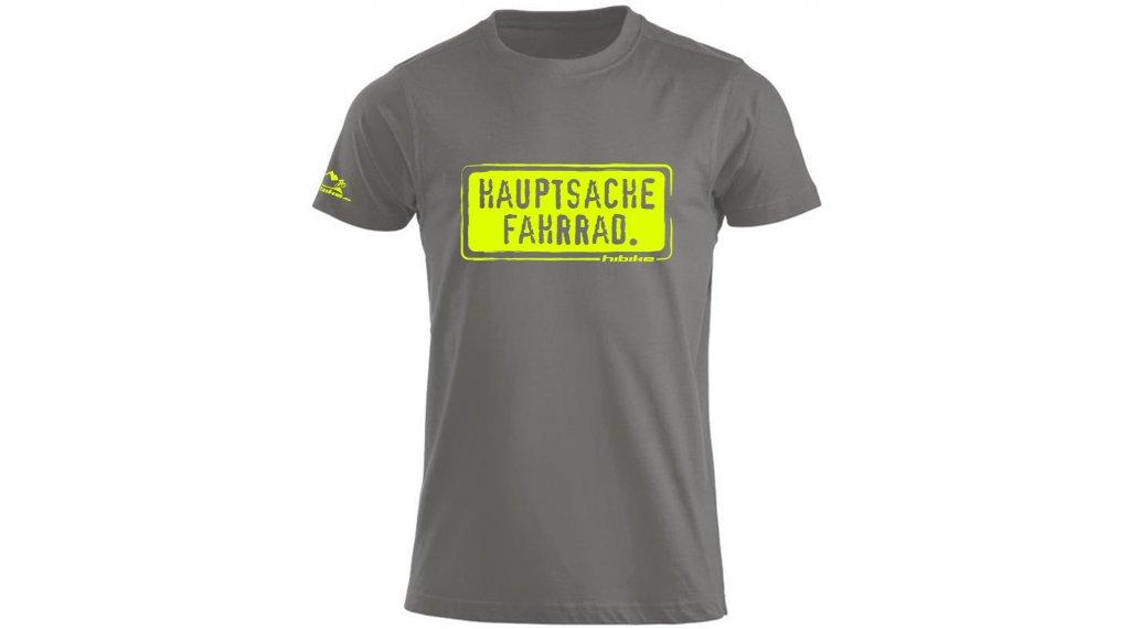 "HIBIKE ""Hauptsache Fahrrad."" T-Shirt kurzarm Herren-T-Shirt Gr. S grau/neon"