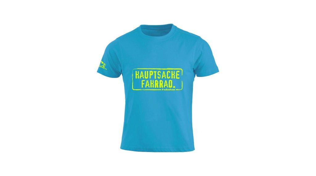 "HIBIKE ""Hauptsache Fahrrad."" T-Shirt kurzarm Kinder Gr. 116 (110/120) türkis/neon gelb"