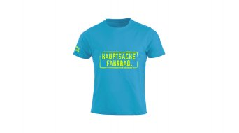 HIBIKE Hauptsache Fahrrad. T-shirt short sleeve kids tourquoise/neon yellow