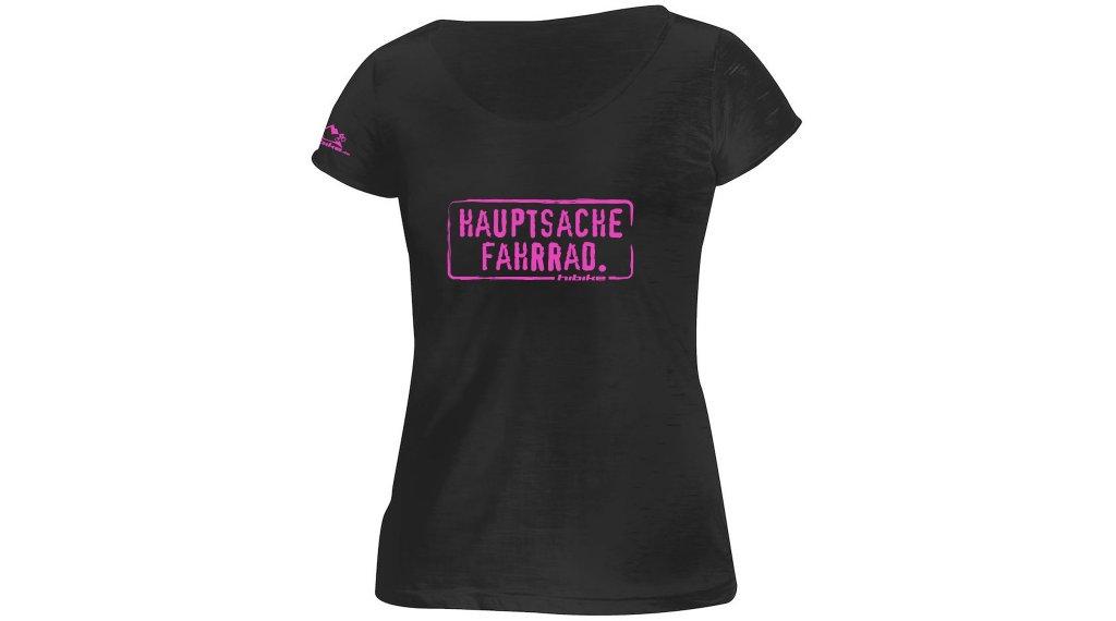 HIBIKE Hauptsache Fahrrad. T-Shirt kurzarm Damen-T-Shirt Gr. XS schwarz/pink