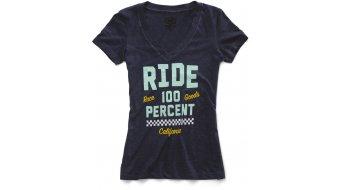 100% Tracker V-Neck T-Shirt kurzarm Damen Gr. L navy