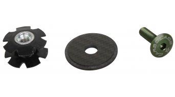 Carbocage Carbon Aheaddeckel 1 1/8 mit Kralle, Aluminiumschraube grün eloxiert