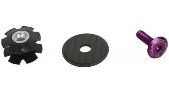 Carbocage Carbon Aheaddeckel 1 1/8 mit Kralle, Aluminiumschraube lila eloxiert