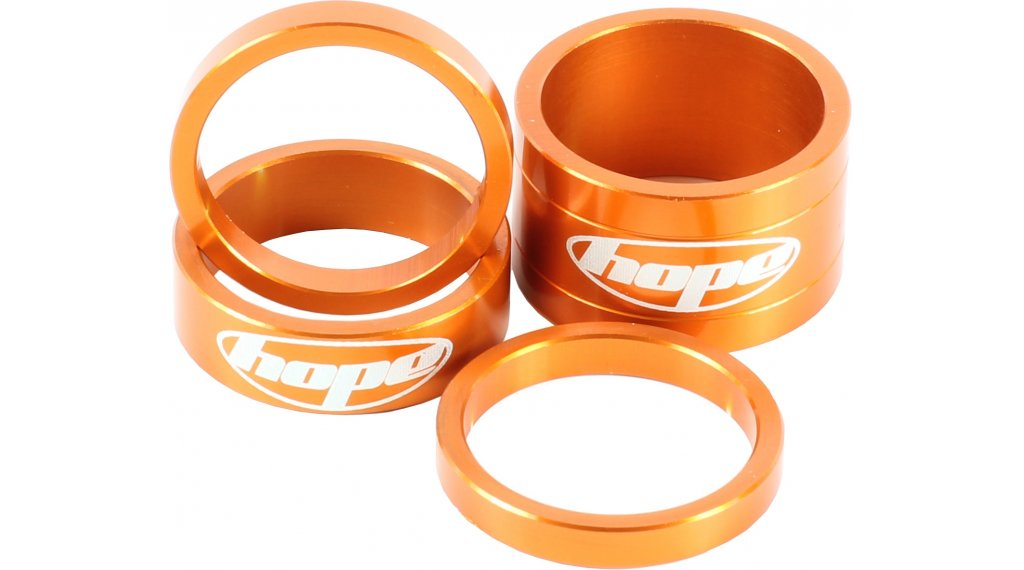 Hope Space Doctor aluminio vainas distanciadoras 1 1/8 naranja anodizado (2x5, 1x10, 1x20mm)