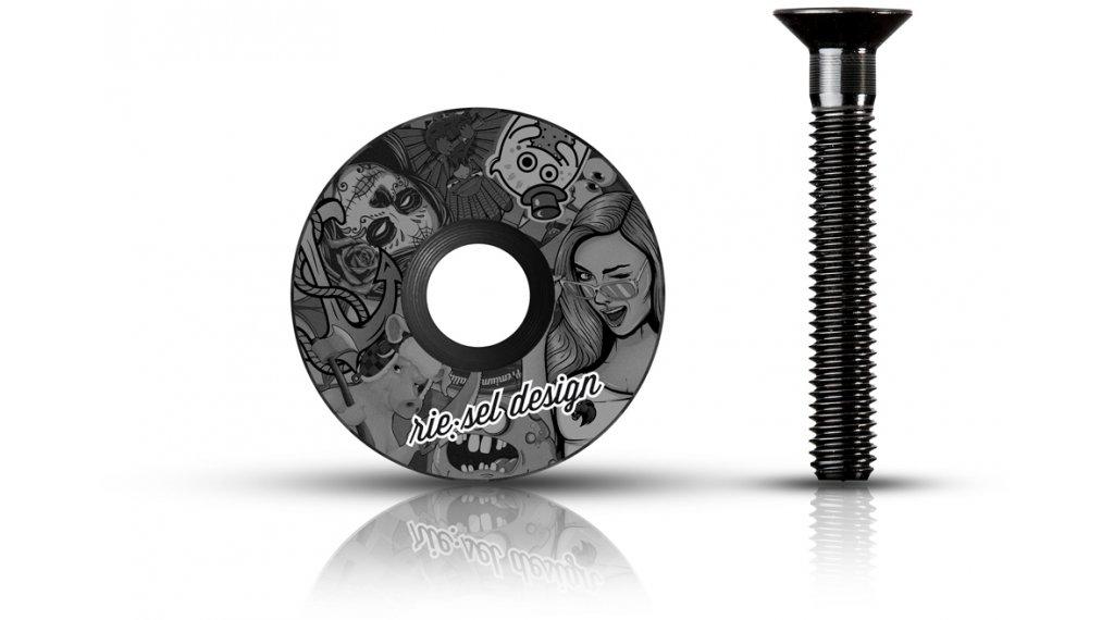 "Riesel Design stem:cap Ahead Kappe 1 1/8"" stickerbomb ultra black"