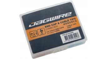 Jagwire End Cap & Cable Tips Combo Box rojo(-a)/azul/color plata