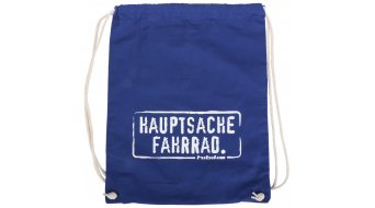 "HIBIKE ""Hauptsache Fahrrad."" Turnbeutel Baumwoll-Stofftasche blau"